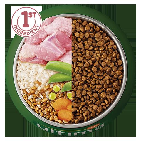 Pavo, arroz, cereales integrales y verduras
