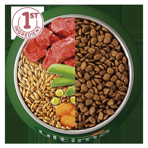 Buey, cebada, cereales integrales y verduras