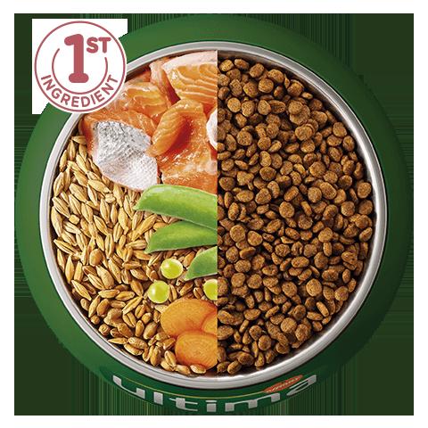 Salmón, cebada, cereales integrales y verduras