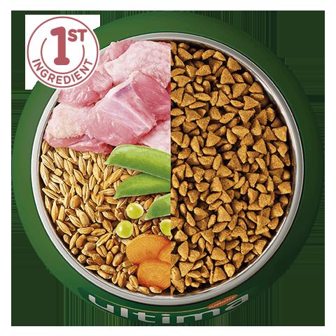 Pavo, cebada, cereales integrales y verduras