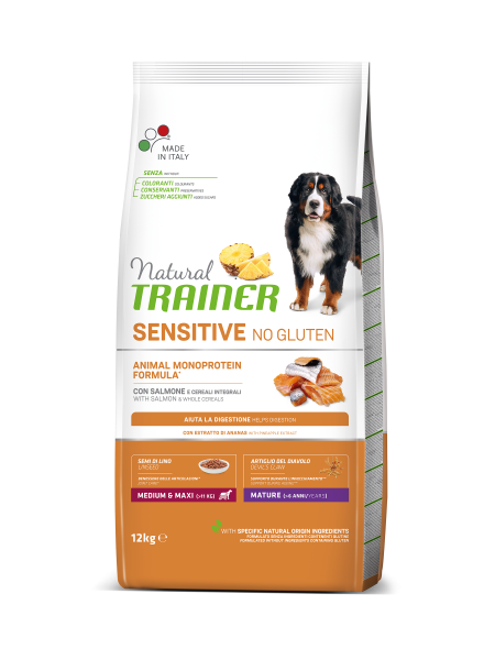 Sensitive No Gluten Medium&Maxi Mature con Salmón
