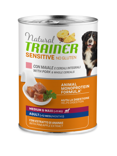 Sensitive No Gluten Medium&Maxi Adult with pork and whole cereals